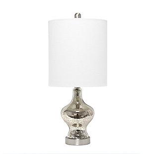Home Accents  Lalia Home Paseo Table Lamp w White Fabric Shade, Mercury, Mercury, large