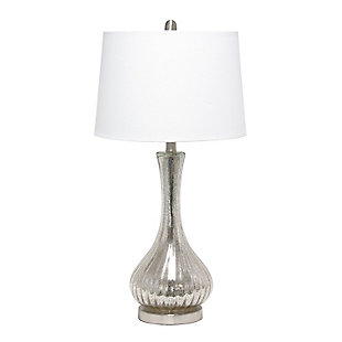 Home Accents  Lalia Home Speckled Mercury Teardrop Table Lamp w WHT Shade, , large