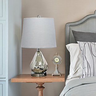 Home Accents  Lalia Home Kissy Pear Table Lamp with Gray Fabric Shade, Gray, rollover
