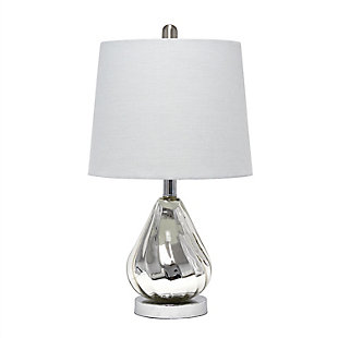 Home Accents  Lalia Home Kissy Pear Table Lamp with Gray Fabric Shade, Gray, large