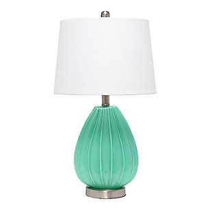 Home Accents  Lalia Home Pleated Table Lamp w White Fabric Shade, Seafoam, Seafoam, large