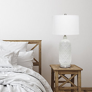 Home Accents  Lalia Home Argyle Classic White Table Lamp w Fabric Shade, , rollover