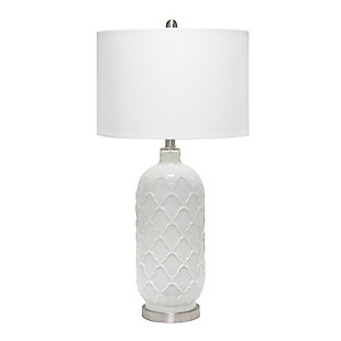 Home Accents  Lalia Home Argyle Classic White Table Lamp w Fabric Shade, , large