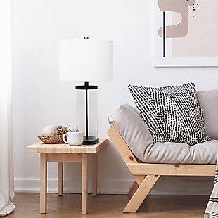 Home Accents  Lalia Home Entrapped Glass Table Lamp w White Fabric Shade, Black, rollover
