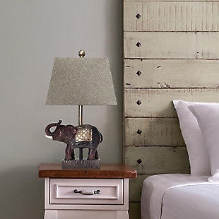 Home Accents  Lalia Home Elephant Table Lamp with Fabric Shade, , rollover