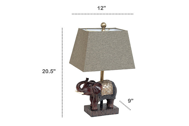 Home Accents  Lalia Home Elephant Table Lamp with Fabric Shade, , large