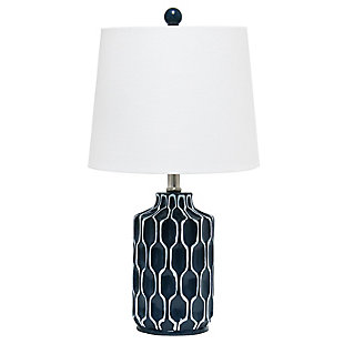 Home Accents  Lalia Home Moroccan Table Lamp with Fabric White Shade,Blue, , large