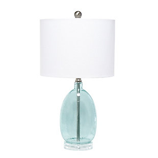 Home Accents  Lalia Home CLB Oval Glass Table Lamp w White Drum Shade, , large