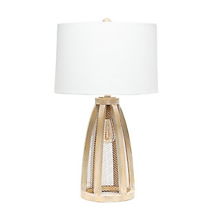 Home Accents Lalia Home Wooded Arch Natural Table Lamp w WHT Fabric Shade, Natural Wood, large