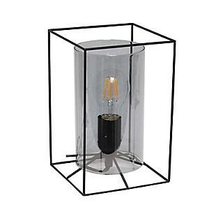 Home Accents Lalia Home BLK Sm Framed Table Lamp w SMK Cylinder Gls Shade, Smoke, large