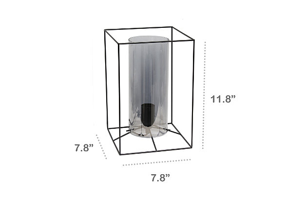 Home Accents Lalia Home BLK Lg Framed Table Lamp w SMK Cylinder Gls Shade, Smoke, large