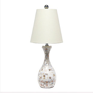 Home Accents Lalia Home Malibu Curved Mosaic Table Lamp w Chrome Accents, , large
