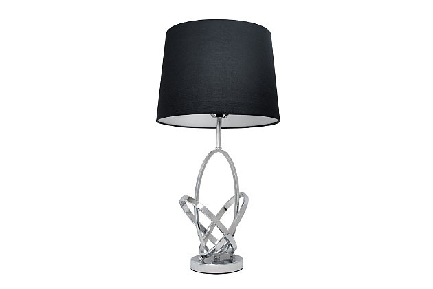 Home Accents Elegant Designs Mod Art Polished CHR Table Lamp w BLK Shade, , large