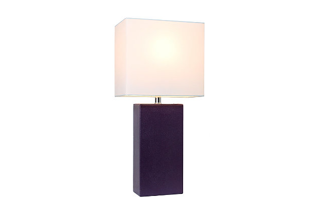 Home Accents Elegant Designs Modern Leather Table Lamp w White Shade, PRP, Purple, large