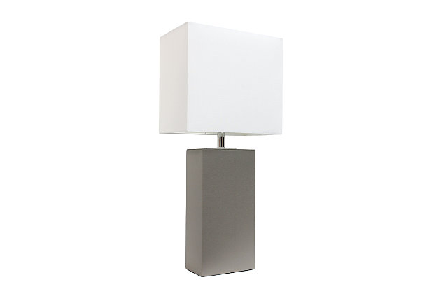 Home Accents Elegant Designs Modern Leather Table Lamp w White Shade, GRY, Gray, large