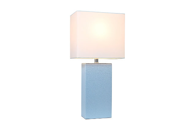 Home Accents Elegant Designs Modern Leather Table Lamp w White Shade, PWK, Periwinkle, large