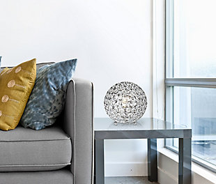 """Home Accents Elegant Designs Elipse 8"""" CHR Crystal Ball Sequin Table Lamp, Chrome, rollover"""