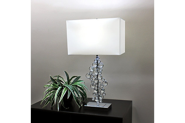 Home Accents Elegant Designs Prismatic Crystal Sequin & Chrome Table Lamp, , large