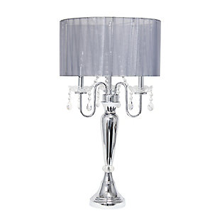Home Accents Elegant Designs Trendy Romantic Sheer Shade Lamp w Crystals, Gray, large