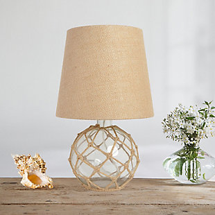 Home Accents Elegant Designs Buoy Nautical Table Lamp w Burlap Shade, CLR, Clear, large