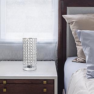 Home Accents Elegant Designs Elipse Crystal & CHR Bedside Cylinder Lamp, , rollover