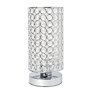 Home Accents Elegant Designs Elipse Crystal & CHR Bedside Cylinder Lamp, , large
