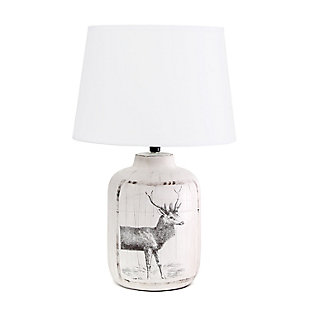 Home Accents Simple Designs Rustic Deer Nature Printed Farmhouse Lamp, Brown, large