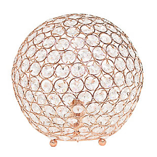 "Home Accents Elegant Designs Elipse 10"" RGD Crystal Ball Sequin Lamp, Rose Gold, large"
