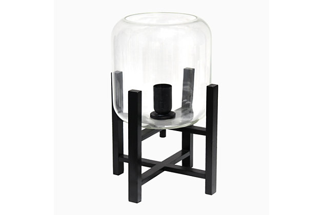 Home Accents Simple Designs BLK Wood Mounted Table Lamp w CLR Glass Shade, Clear, large