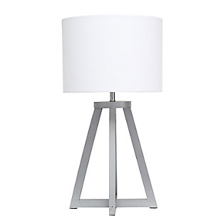 Home Accents Simple Designs Interlock Triangular GRY Wood Lamp w WHT Shde, White/Gray, large