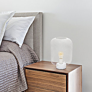 Home Accents Simple Designs White Metal Mesh Industrial Table Lamp, White, rollover