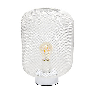 Home Accents Simple Designs White Metal Mesh Industrial Table Lamp, White, large