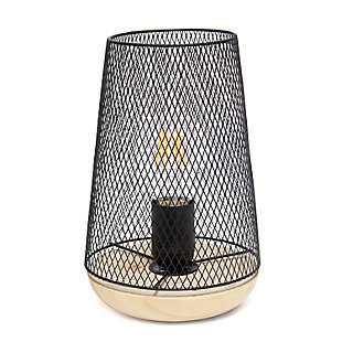 Home Accents Simple Designs Black Wired Mesh UpLight Table Lamp, Black, large