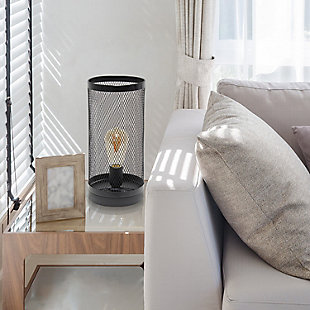 Home Accents Simple Designs Black Mesh Cylindrical Steel Table Lamp, Black, rollover