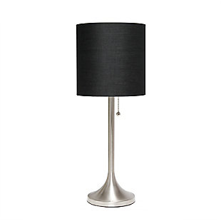 Home Accents Simple Designs BSN Tapered Table Lamp w BLK Fabric Shade, Black, large