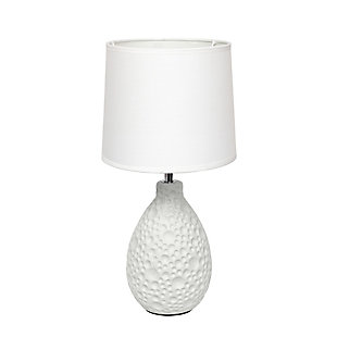 Home Accents Simple Designs Textured Stucco Ceramic Oval Table Lamp, White, large