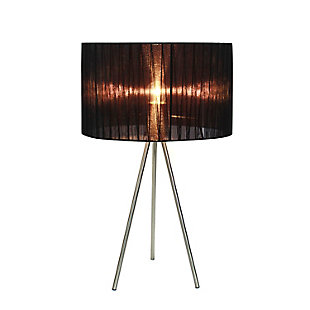 Home Accents Simple Designs BSN Tripod Lamp w Pleated Silk Sheer Shade, Black, large