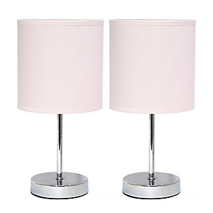 Home Accents Simple Designs CHR Mini Basic Table Lamp w Fabric Shade 2 Pk, Pink, large