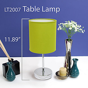 Home Accents Simple Designs Chrome Mini Basic Table Lamp w Fabric Shade, Green, large