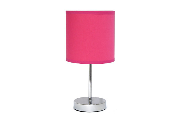 Home Accents Simple Designs Chrome Mini Basic Table Lamp w Fabric Shade, Hot Pink, large