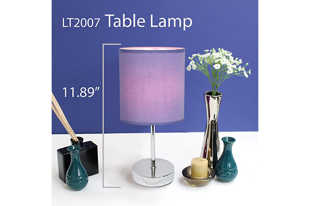 Home Accents Simple Designs CHR Mini Basic Table Lamp w Fabric Shade 2 Pk, Purple, large