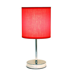 Home Accents Simple Designs Chrome Mini Basic Table Lamp w Fabric Shade, Red, large