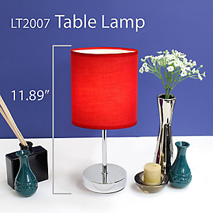 Home Accents Simple Designs CHR Mini Basic Table Lamp w Fabric Shade 2 Pk, Red, large
