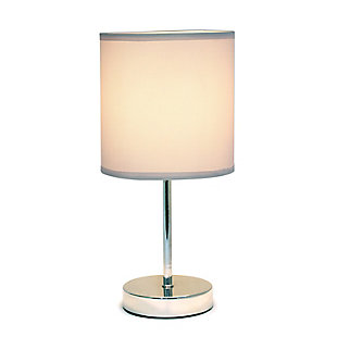 Home Accents Simple Designs Chrome Mini Basic Table Lamp w Fabric Shade, Gray, large