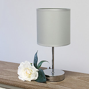 Home Accents Simple Designs CHR Mini Basic Table Lamp w Fabric Shade 2 Pk, Gray, large