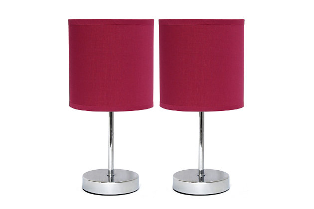 Home Accents Simple Designs CHR Mini Basic Table Lamp w Fabric Shade 2 Pk, Magenta, large