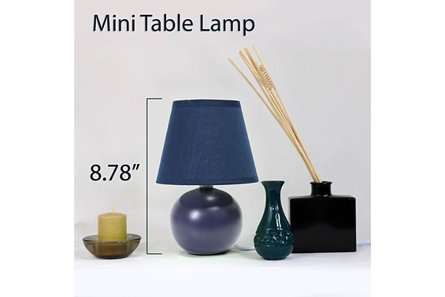 Home Accents Simple Designs Mini Ceramic Globe Table Lamp, Blue, large
