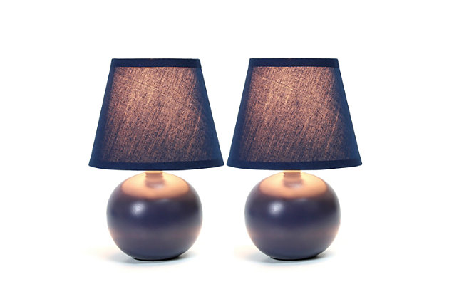 Home Accents Simple Designs Mini Ceramic Globe Table Lamp 2 Pk Set, Blue, large