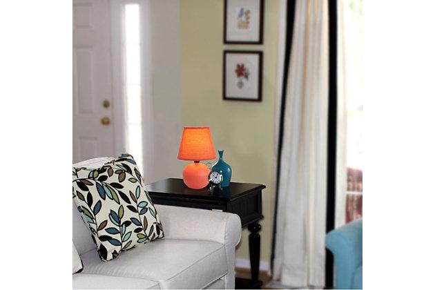 Home Accents Simple Designs Mini Ceramic Globe Table Lamp, Orange, large