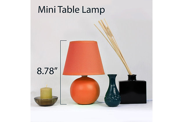 Home Accents Simple Designs Mini Ceramic Globe Table Lamp, Orange, large